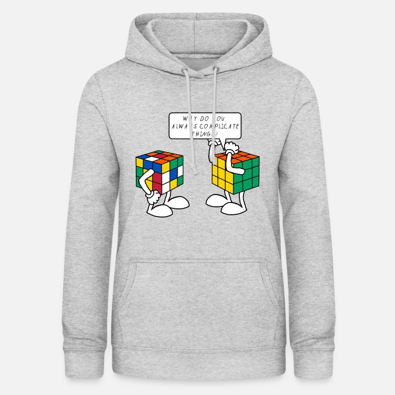 Funny Hoodies & Sweatshirts - Rubik's Cube Humour Complicate Things - Women's Hoodie heather grey
