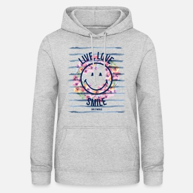 Smiley World Live Love Smile Aquarelle Quote - Women's Hoodie