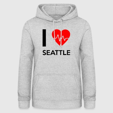 I Love Seattle - kocham Seattle - Bluza damska z kapturem
