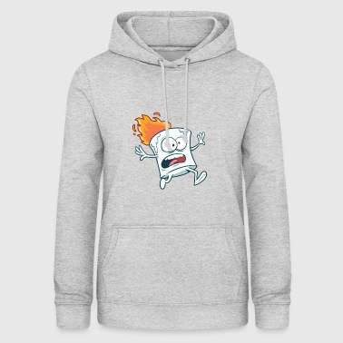 Marshmallow i flammer - Dame hoodie