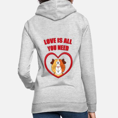 Guinea Pig GUINEA PIGS - HEART - LOVE IS ALL YOU NEED - Women's Hoodie