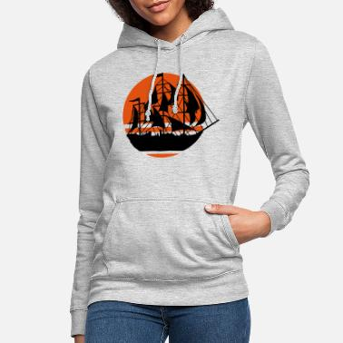 Pirate Sun sailing ship silhouette - Women's Hoodie