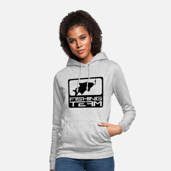Physical Education Hoodies & Sweatshirts - fishing team sport logo red blue caught fish - Women's Hoodie light heather grey