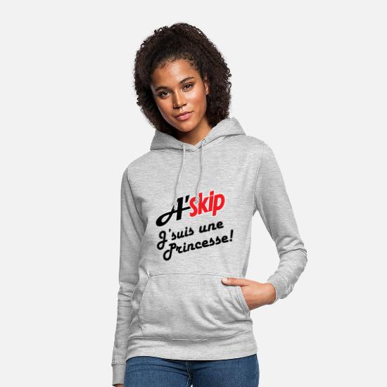 Princesse Sweat-shirts - T-shirt humour cadeau offrir Askip princesse - Sweat à capuche Femme gris clair chiné