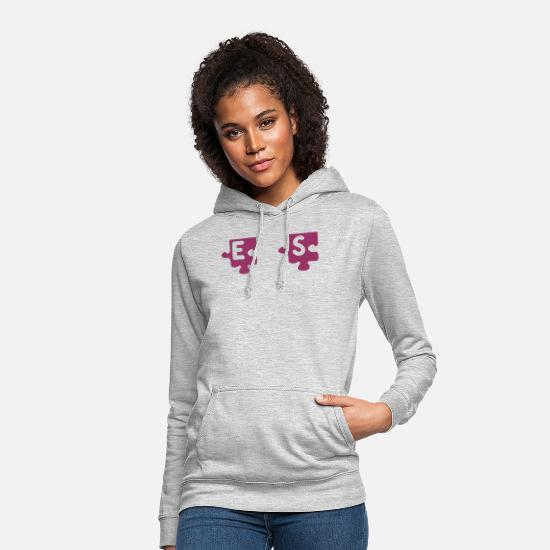 Puzzle Sweat-shirts - S tattoo puzzle 083 - Sweat à capuche Femme gris clair chiné