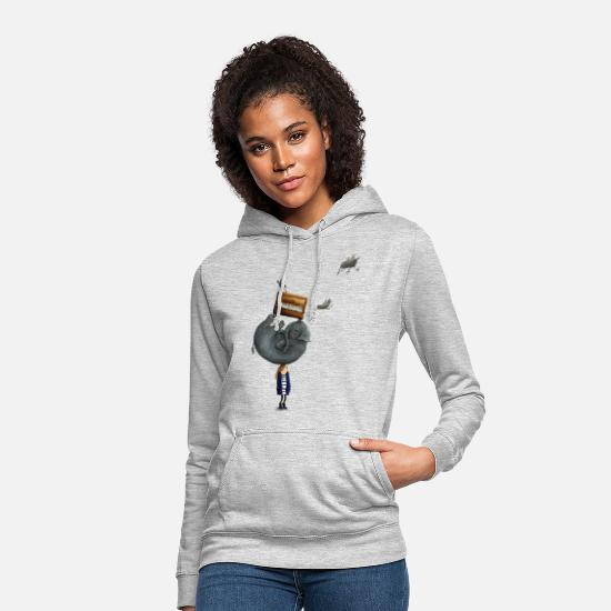 Funny Hoodies & Sweatshirts - Elephant On The Head - Women's Hoodie light heather grey