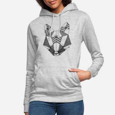 Black And White Collection Origami fox head - Women's Hoodie