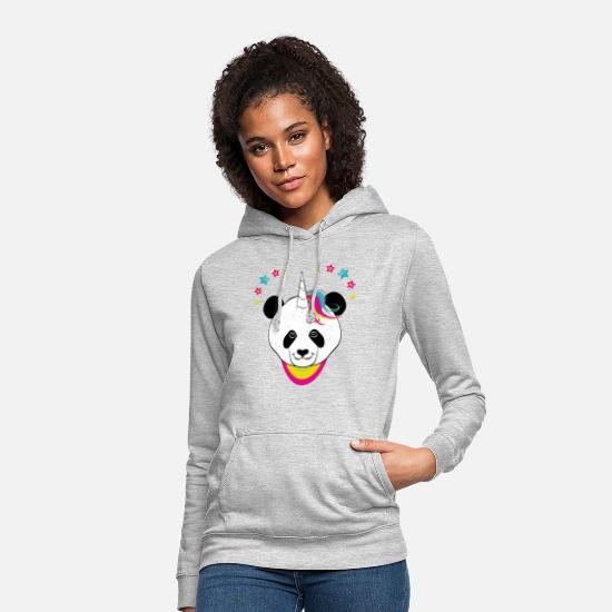 Unicorn Hoodies & Sweatshirts - Pandacorn panda bear unicorn - Women's Hoodie light heather grey
