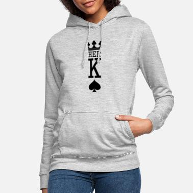 Lover King And Queen Skull - 1 Of 2 Card Hearts Couple - Frauen Hoodie