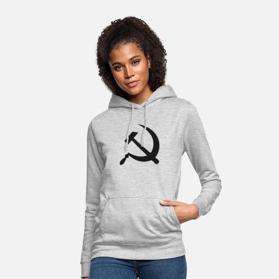 Communiste Sweat-shirts - Communisme - Sweat à capuche Femme gris clair chiné