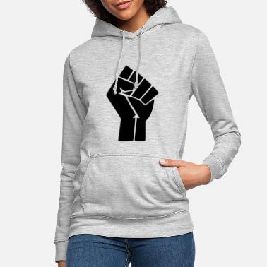 Fist Black Lives Matter (Black on White Fist) - Women's Hoodie