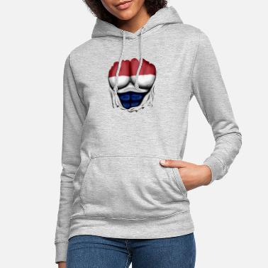 Netherlands Flag Ripped Muscles six pack chest - Women's Hoodie