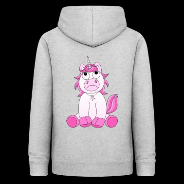 Sad Unicorn avec moue en rose - Sweat à capuche Femme