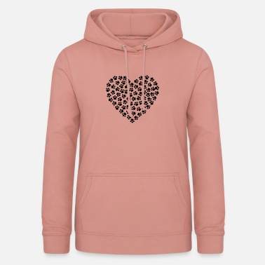 Paw Print Heart made of cat paws - Women's Hoodie
