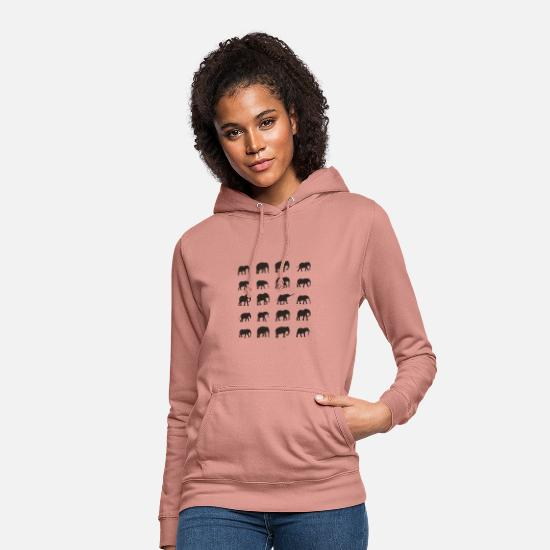 Design Hoodies & Sweatshirts - Elephant Herd - dark design - Women's Hoodie dusky rose