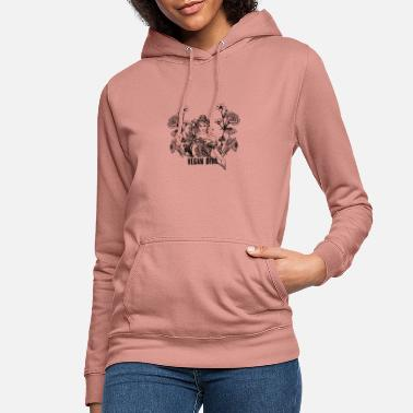 Vegan Diva - lady with flowers - Women's Hoodie