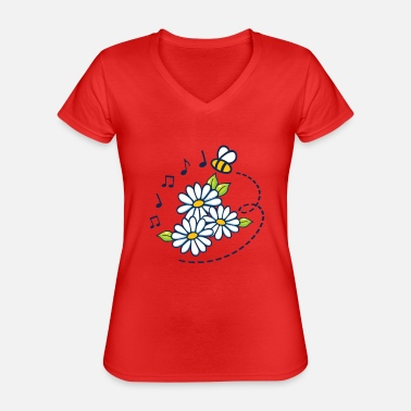 Flowers bee music note song - Classic Women's V-Neck T-Shirt
