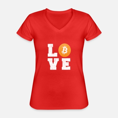Bitcoin Love - Crypto Currency T-Shirt Gift - Classic Women's V-Neck T-Shirt