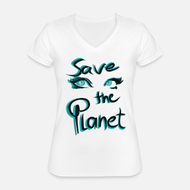 Save The Planet Save the Planet Eyes - Klassisk T-skjorte med V-hals for kvinner