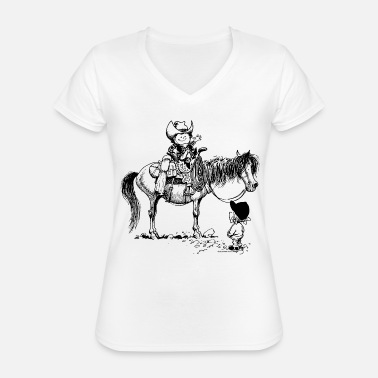 Thelwell Thelwell 'Cowboy with Pony' - Classic Women's V-Neck T-Shirt