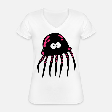 Jellyfish Jellyfish Shirt Octopus Octopus Sea Vacation - Classic Women's V-Neck T-Shirt