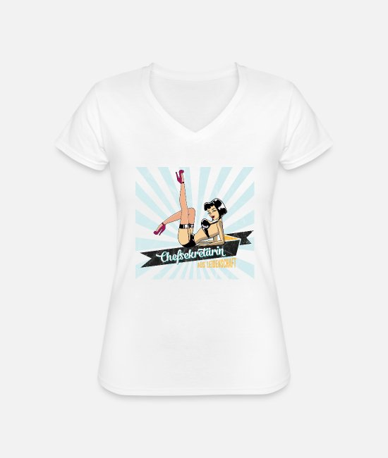 Occupation T-Shirts - sexy chief secretary secretary retro gift woman - Classic Women's V-Neck T-Shirt white