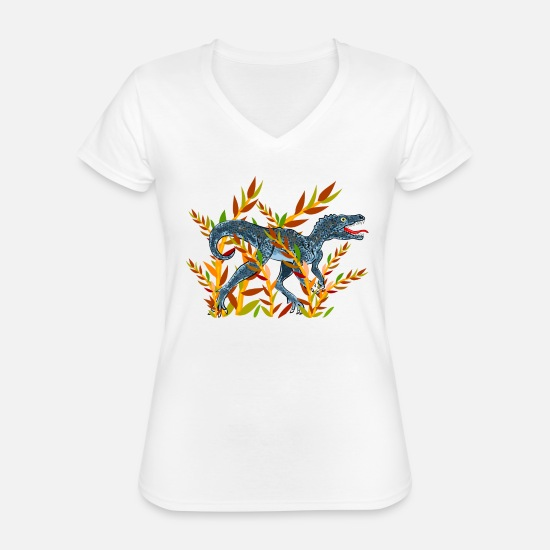 Animal T-Shirts - dinosaur - Classic Women's V-Neck T-Shirt white