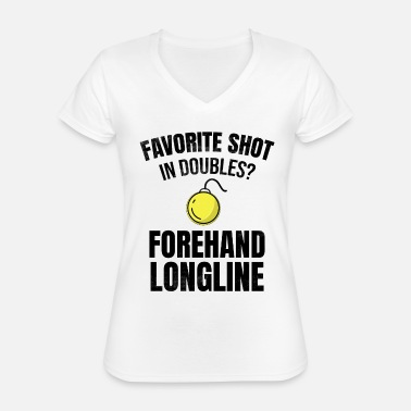 Longline Tennis doubles | Double player forehand longline - Classic Women's V-Neck T-Shirt