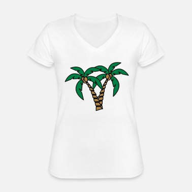 Island Palm tree coconut group - Classic Women's V-Neck T-Shirt