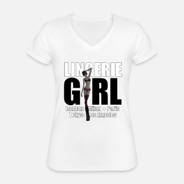 Trend Underwear The Fashionable Woman - Lingerie Girl - Classic Women's V-Neck T-Shirt