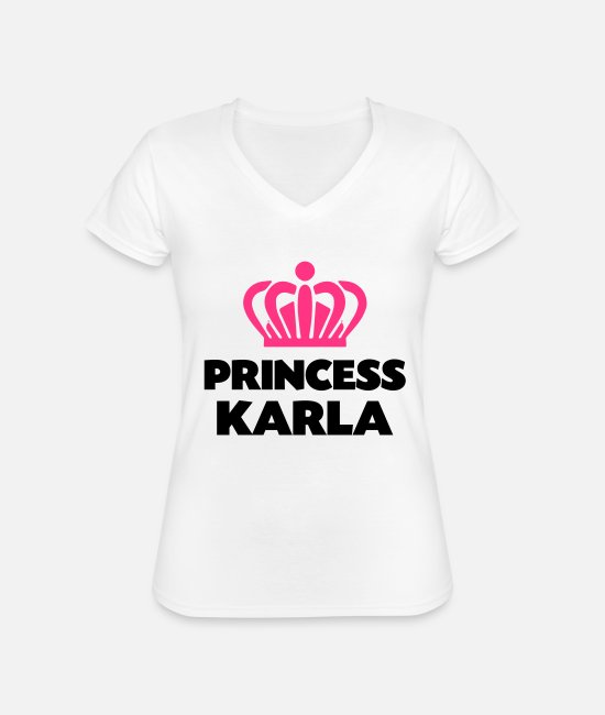Crown T-Shirts - Princess karla name thing crown - Classic Women's V-Neck T-Shirt white