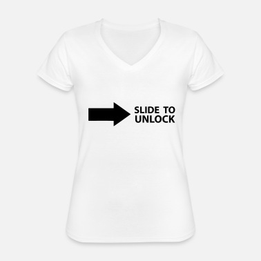 Open Underwear Slide to unlock (left to right), monochrome - Classic Women's V-Neck T-Shirt