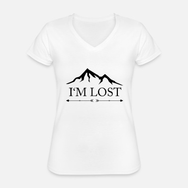 Be Lost I Am Lost - Mountains Lost Lost Alone Alone - Classic Women's V-Neck T-Shirt