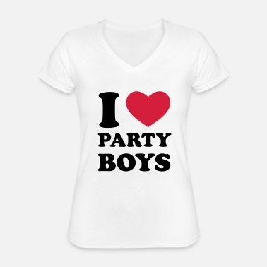 I Love Party I Love Party Boys - Klassisk T-skjorte med V-hals for kvinner