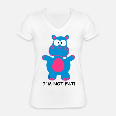 I'm Not Fat Shirt Hippo Hippo Hippo Saying - Maglietta da donna classica con scollo a V