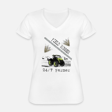 Tractor - Field Runner - Farmer - Gift - Classic Women's V-Neck T-Shirt