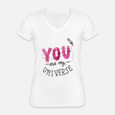 I Love My You Are My Universe - Classic Women's V-Neck T-Shirt