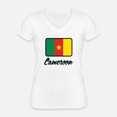 Soccer National Flag Of Cameroon - Classic Women's V-Neck T-Shirt