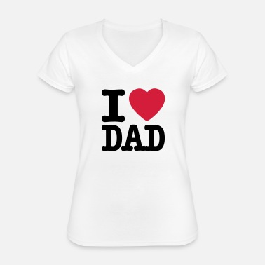 I Love Dad i love dad NO - Klassisk T-skjorte med V-hals for kvinner