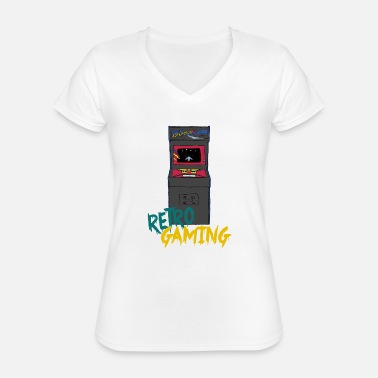 Retrogaming retrogaming - Klassisk dame T-shirt med V-udskæring