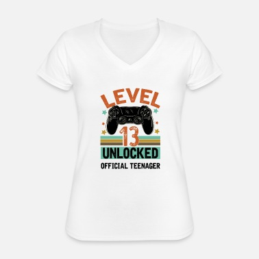 Teenager Level 13 Unlocked Official Teenager 13th Birthday - Classic Women's V-Neck T-Shirt
