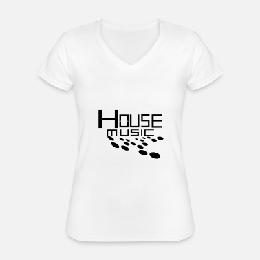 Turn Table cool house music logo design - Classic Women's V-Neck T-Shirt