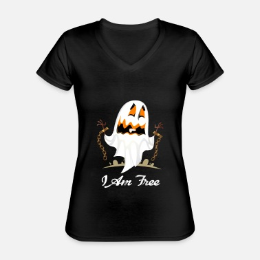 Grave Funny Halloween I Am Free T-shirt - Classic Women's V-Neck T-Shirt