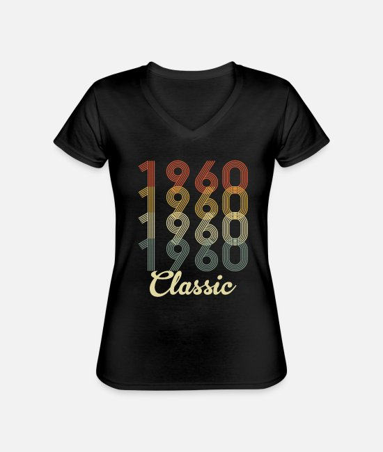Mother's Day T-Shirts - vintage Birth in 1960 birthday present - Classic Women's V-Neck T-Shirt black