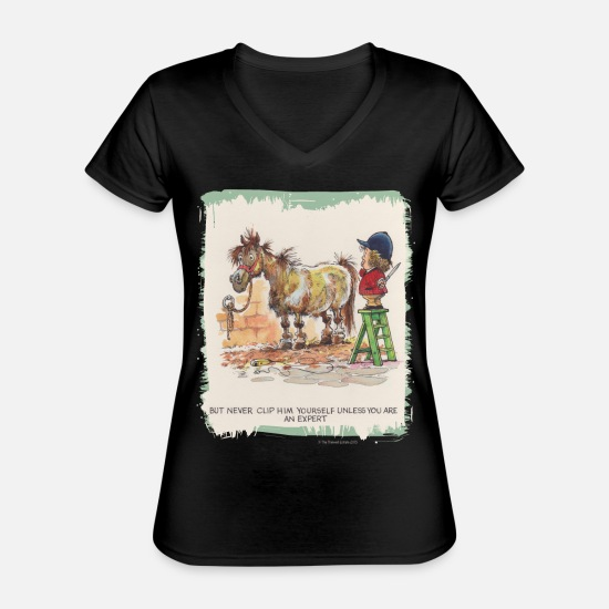 Thelwell T-Shirts - Thelwell - Pony with hairdresser - Classic Women's V-Neck T-Shirt black