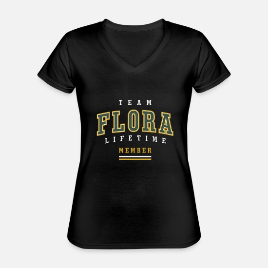 Original T-Shirts - Flora - Classic Women's V-Neck T-Shirt black