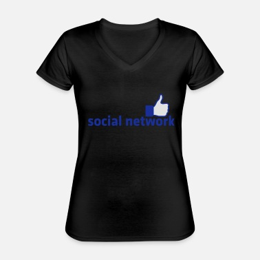 Social Network social network with button - Classic Women's V-Neck T-Shirt
