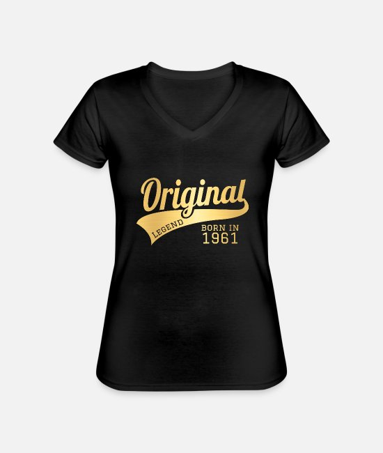 Gold T-Shirts - 1961 61 Present Bday Birthday Present Gift - Classic Women's V-Neck T-Shirt black