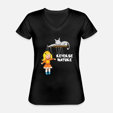 Slave Female Cat plays with a female slave as a puppet - Classic Women's V-Neck T-Shirt