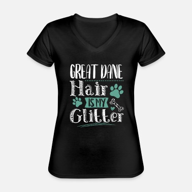 Cool Funny Cute Great Dane Dog Hair Love - Classic Women's V-Neck T-Shirt